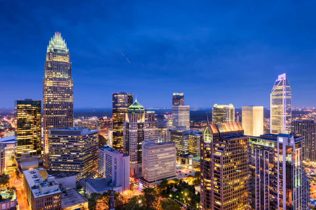 Charlotte, North Carolina, USA uptown skyline at night, Dentistry, Clean Teeth